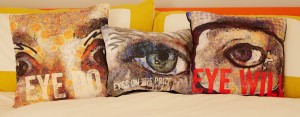 EyeWill pillows by artist Jeanne Aufmuth